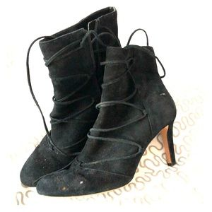 Vince Camuto black suede lace up booties #chenai